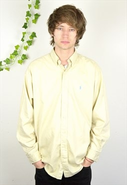 90s Vintage Polo Ralph Lauren Cream Long Sleeve Shirt