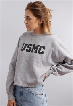 Vintage Reworked Cropped Sweatshirt IN Grey Z795