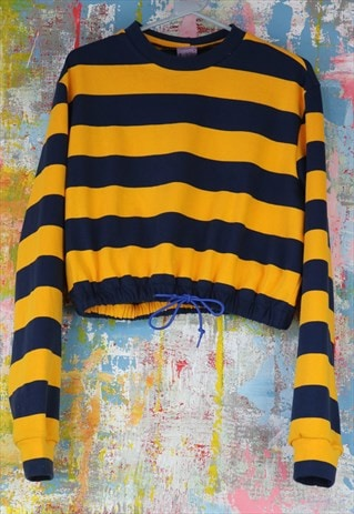 RELAX FIT JUMPER IN GOLD N NAVY STRIPES WITH DRAWSTRING