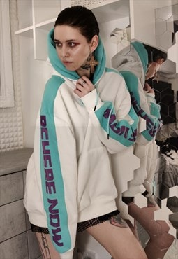 Loose fit oversize premium fluorescent slogan hoodie top