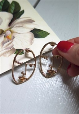 Gold Abstract Art Deco Face Earrings