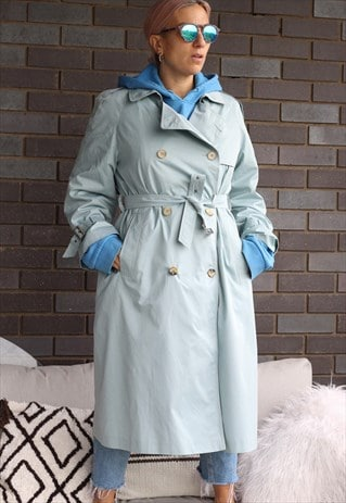 VINTAGE 1990S BABY BLUE BELTED TRENCH COAT