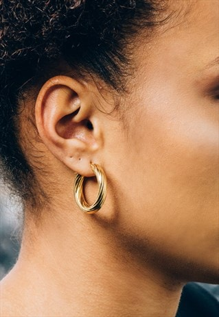 TWISTED CHUNKY VINTAGE LOOK GOLD HOOPS