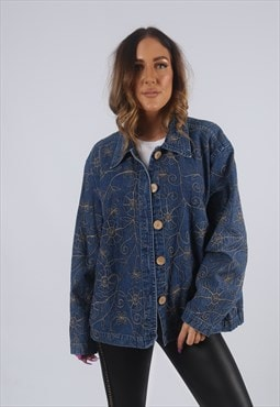 Vintage Denim Jacket Oversized Embroidered Floral UK 16 (KBW