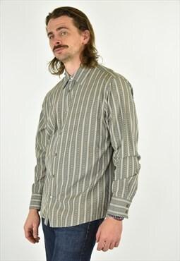 Vintage 90's Calvin Klein Beige Stripped Shirt Size LG