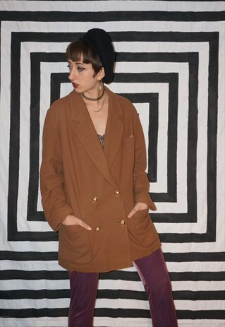 VINTAGE 80'S TAN WOOL AND CASHMERE MIX COAT