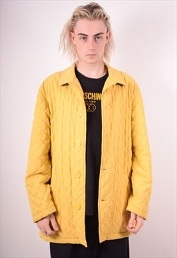 Burberry Mens Vintage Quilted Jacket Large Yellow 90s