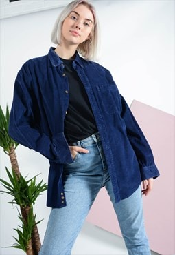 Vintage oversized cord shirt in blue