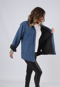 Denim Shirt Oversized Quilt Lined Plain Long  UK 14  (CK2P)