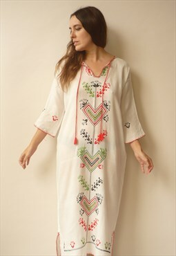 1970's Vintage White Embroidered Hippie Folk Maxi Dress