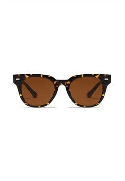 Jamie Circle Retro Sunglasses Leopard