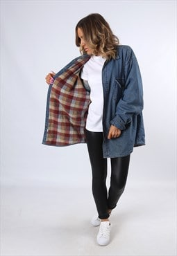 Denim LINED Shirt Plain Oversized Fitted UK 18 - 20  (E43A)