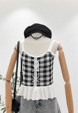 Gingham Knitted Sleeveless Peplum Top