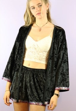 Shorts and KImono Co-ordinates black velvet & hearts trim
