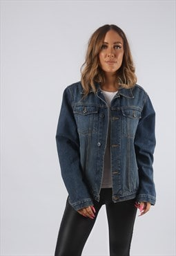 Vintage Denim Jacket Oversized Fitted UK 12 M  (AHDV)
