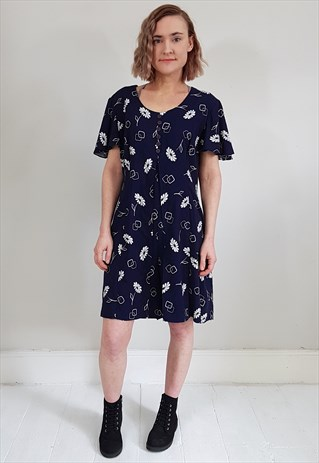 VINTAGE 90'S NAVY BLUE AND WHITE BUTTON OVERLAY PLAYSUIT