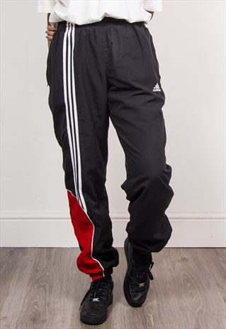 90'S VINTAGE ADIDAS BLACK TRACKSUIT BOTTOMS TROUSERS