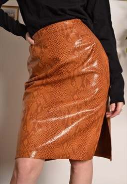 Vintage Faux Snakeskin Patent Pencil Skirt in Orange