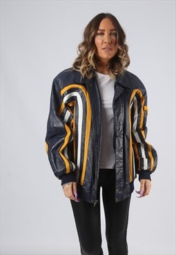 Leather Jacket Bomber Oversized VARSITY UK 16  (GK7G)