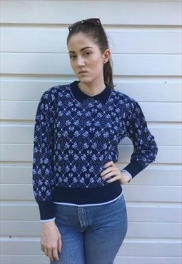 Womens Vintage 80s jumper blue bow patterned collared top
