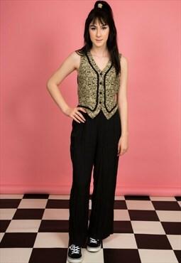 Vintage black & cream embroidered waistcoat palazzo jumpsuit