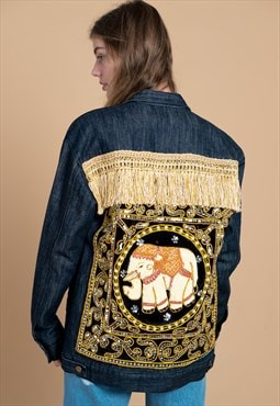 Thai Elephant Embellished Festival Denim Jacket in Black