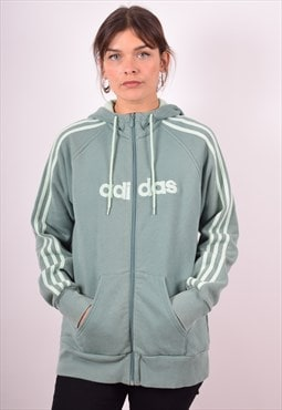 Adidas Womens Vintage Hoodie Jacket XL Green 90s