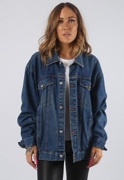 Vintage Denim Jacket Oversized Fitted UK 16 XL  (HDU)