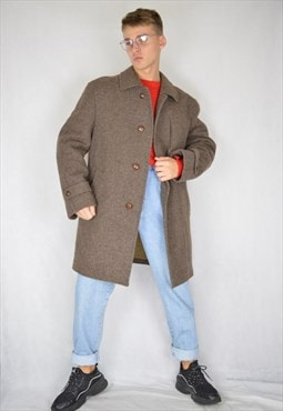 Vintage brown classic 80's wool coat
