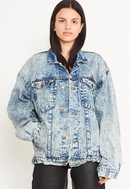 Vintage Blue Acid Washed WRANGLER Denim Jacket