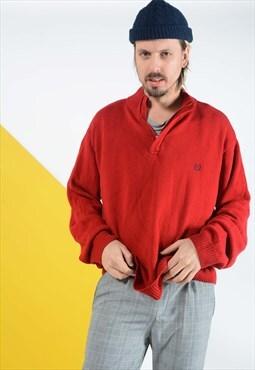 Vintage CHAPS 1/4 zip jumper in red.
