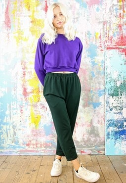 Green Textured Trousers & Purple Crop Sweat Co-ordinates