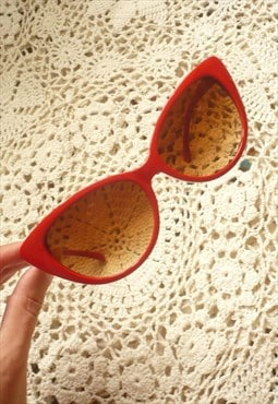 Bright Red Cat Eye Sunglasses 50's Vintage Style
