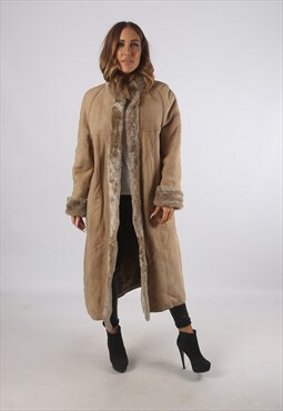 Vintage Sheepskin Suede Shearling Coat Long UK 12 M (K93F)