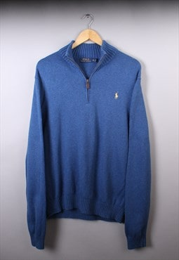 Mens Ralph Lauren Blue Quarter Zip Jumper