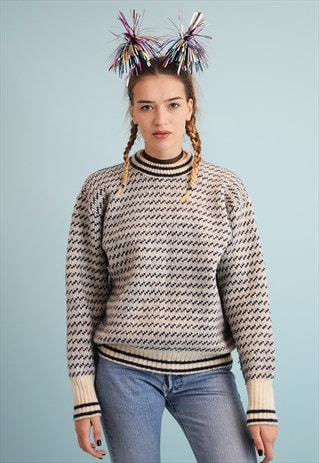 80'S RETRO NORDIC WOOL CHUNKY KNIT CHRISTMAS JUMPER