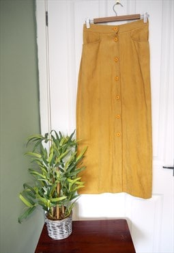 Vintage Yellow Button 70's Pencil Skirt