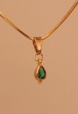 24K Gold Plated BOHEME Emerald Tear Drop Choker Necklace