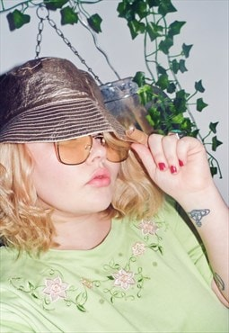 Bucket hat rose gold foil festival rave one size unisex 90s