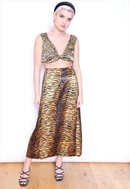 Handmade Reworked Vintage Satin Animal Slip Skirt