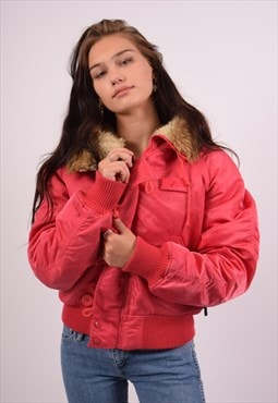 Vintage Alpha Industries Padded Bomber Jacket Pink