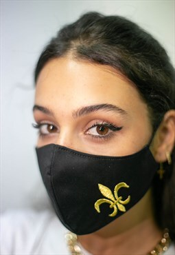Face Covering. Fleur du Lys Gold Embroidery