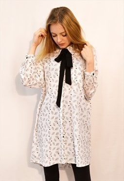 Black white color leaves print chiffon shirt dress scarf