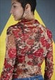 Y2K RED SHEER BLOUSE WITH FLORAL AND BIRD DESIGN