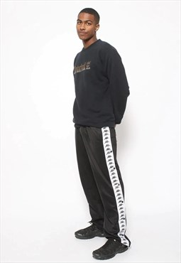 Vintage Kappa Tape Logo Poppers Jogging Track Trousers Black