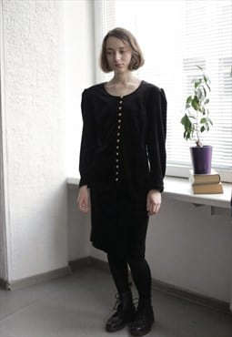 Vintage 80's Black Velvet Long Sleeved Dress