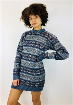 Vintage Winter Patterned Knitted Jumper Dress