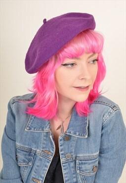 Vintage 90's Wool Beret Hat Purple