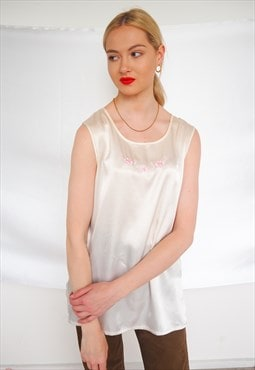 Vintage silky sleeveless blouse with floral embroidery