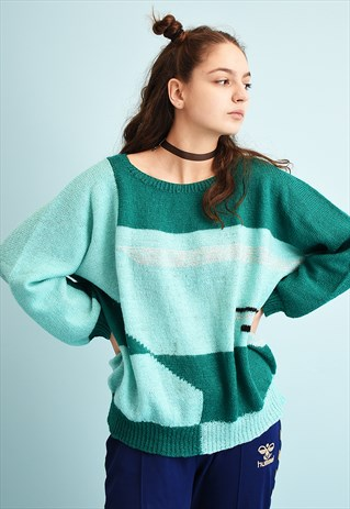 80'S RETRO ABSTRACT PATTERN MOMS KNIT JUMPER